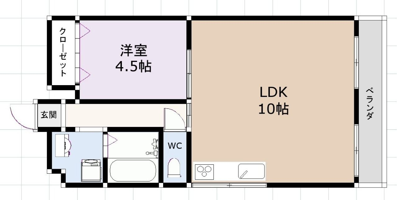コーポワコー301号室間取り図